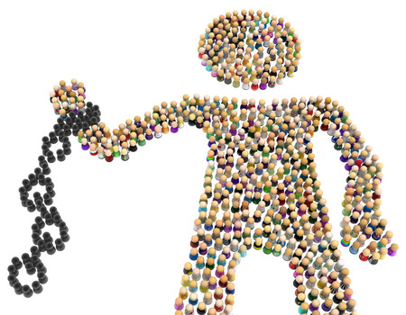 Crowd of small symbolic figures forming big person shape black shackle, 3d illustration, horizontal, isolated, over white
