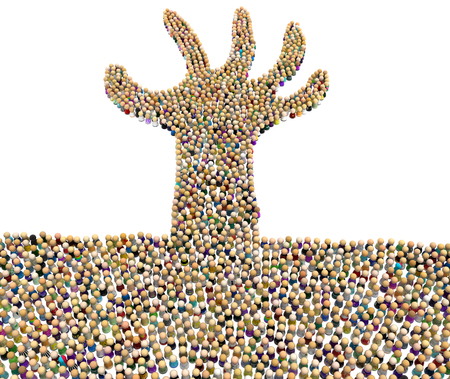 Crowd of small symbolic figures forming drowning arm shape, 3d illustration, horizontal, isolated, over white 写真素材