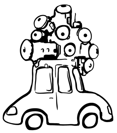 Camera eye car cartoon line drawing, vector, horizontal, over white Illusztráció