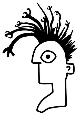 Hair weird arms head cartoon black, vector illustration, horizontal, isolated