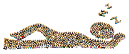 Crowd of small symbolic figures forming big person shape snoozing, 3d illustration, horizontal, isolated, over white Stock Photo