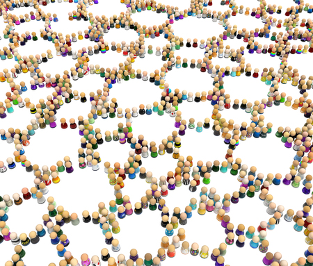Crowd of small symbolic figures, cells formation, 3d illustration, over white, horizontal background