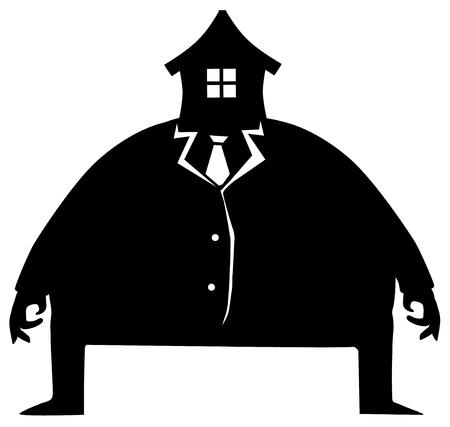 Face house head man symbol silhouette stencil black humorous joke surreal, vector illustration, horizontal, isolated