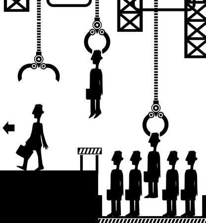 Employee factory manufacturing line queue side view figure silhouette black, vector illustration, horizontal, over white