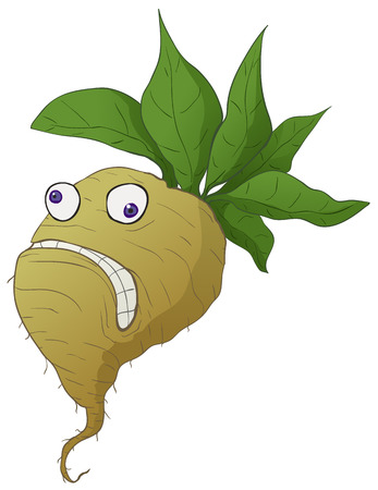 Stressed turnip root vegetable funny cartoon color drawing, vector illustration, vertical, over white, isolated