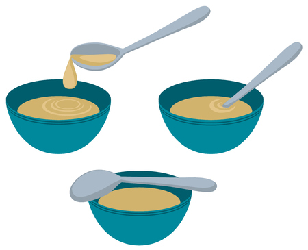 Soup bowl with spoon, vector cartoon color illustration design element horizontal, over white, isolated