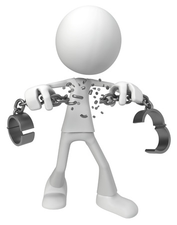 White symbolic figure meta chain shackles breaking, 3d illustration, horizontal, isolated Stock Photo