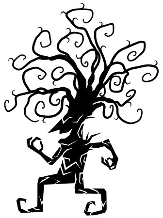 Cheery smiling walking tree cartoon character black silhouette, vector illustration, vertical, isolated, over white 写真素材 - 127555373