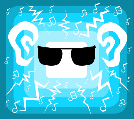 Music charged light blue glow, vector cartoon color illustration horizontal