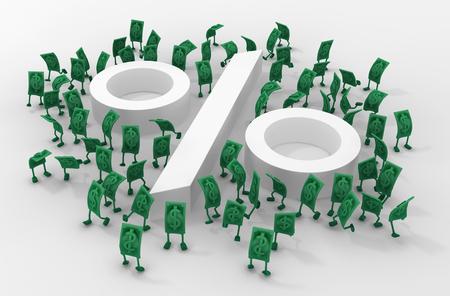 Dollar money symbol cartoon characters with percent symbol, 3d illustration, horizontal, over white Stock fotó