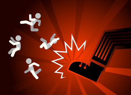 Kicked out fired flying people figures, vector illustration color cartoon, horizontal