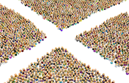 Crowd of small symbolic figures forming empty crossed shape, 3d illustration, horizontal, isolated, over white