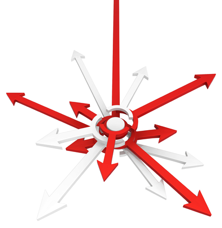 Red symbolic arrow junction big, 3d illustration, horizontal, over white, isolated