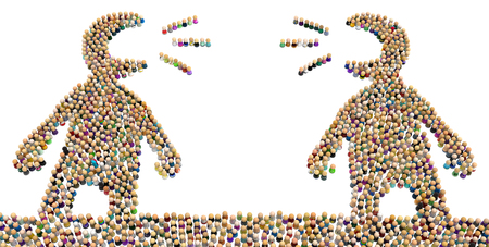 Crowd of small symbolic figures forming big person shapes arguing, 3d illustration, horizontal, isolated, over white Stok Fotoğraf