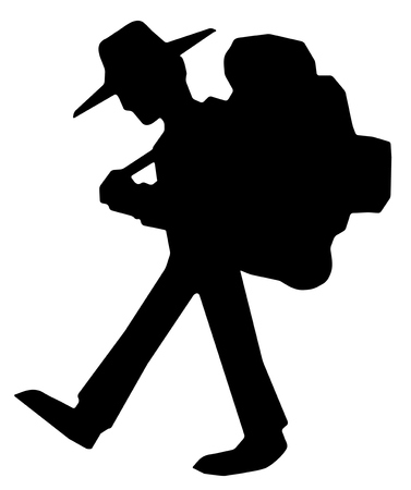 Hiker walking symbol silhouette stencil black, vector illustration, horizontal, isolated