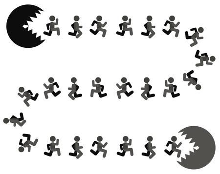 Échapper au danger des gens futiles métaphore des chiffres, vector illustration couleur cartoon, horizontal Vecteurs