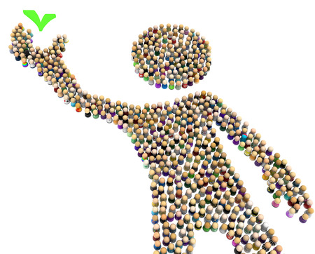 Crowd of small symbolic figures forming big person shape taking check mark, 3d illustration, horizontal, isolated, over white