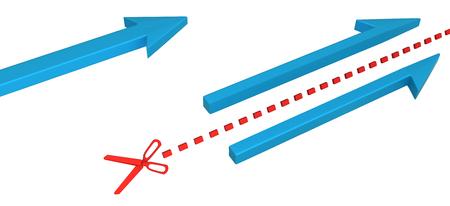 Blue symbolic arrow cut through by red scissor line, 3d illustration, horizontal, over white, isolated Foto de archivo