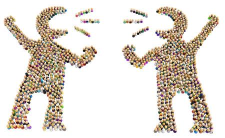 Multitud de pequeñas figuras simbólicas que forman un par de formas de persona grande discutiendo, ilustración 3d, en horizontal, aislado sobre blanco Foto de archivo