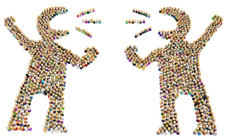 Crowd of small symbolic figures forming big person shapes pair arguing, 3d illustration, horizontal, isolated, over white