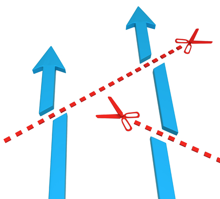 Blue symbolic arrows cut short by red scissor line, 3d illustration, vertical, over white, isolated