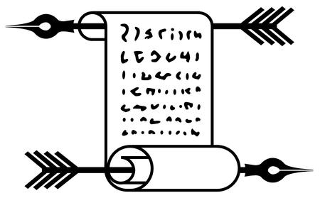 Scroll pen arrow shot symbol black, vector illustration, horizontal, isolated