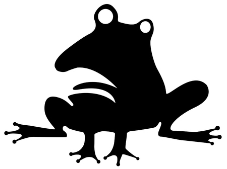 Odd frog humorous stencil black, vector illustration, horizontal, isolated Illustration