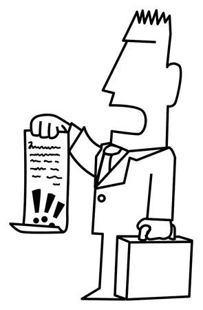 Anwaltsnachfrage hält Dokument lustige Cartoon-Linienzeichnung, Vektor, vertikal, über Weiß