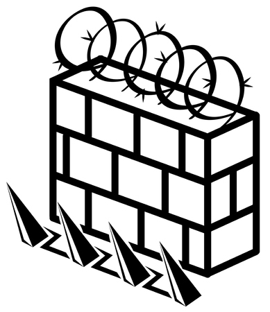 Wall reinforced security stencil black, vector illustration, horizontal, isolated  イラスト・ベクター素材