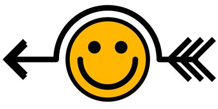 Smile joke arrow symbol black, vector illustration, horizontal, isolated