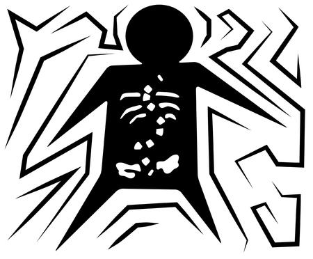 Back pains figure symbol black cartoon, vector illustration, horizontal, over white