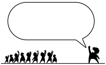Celebrity speech bubble empty frame with people figures spectators crowd, vector illustration cartoon, horizontal