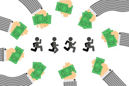 Investor money handouts run people figures metaphor, vector illustration color cartoon, horizontal Illusztráció