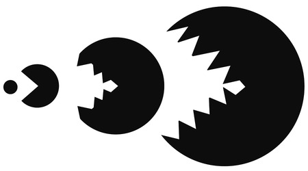 Game predator stencil black, vector illustration, horizontal, isolated