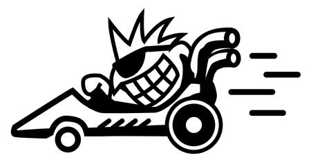 Racer mad symbol black, vector illustration, horizontal, isolated Vector Illustration