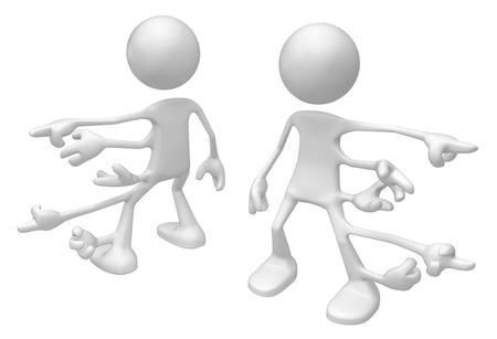Odd white symbolic figure surreal many hands point, 3d illustration, horizontal, isolated Stock Photo