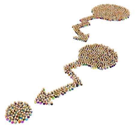 Crowd of small symbolic figures forming arrows pointing to next circles, 3d illustration, horizontal, isolated, over white