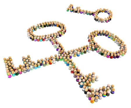 Crowd of small symbolic figures forming three key shapes, 3d illustration, horizontal, isolated, over white Stock Photo