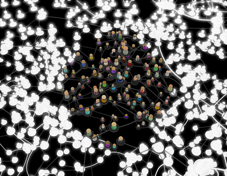 Crowd of small symbolic 3d figures linked by lines, complex layered system dark grey, glowing around, over black, vertical
