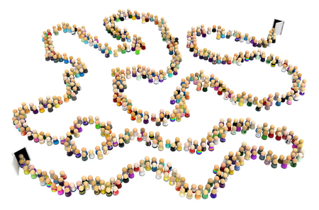 Crowd of small symbolic figures, open doors connection indirect long path, 3d illustration, horizontal background, over white, isolated Stock Photo
