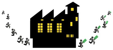 Earning money factory workers people figures, vector illustration color cartoon, horizontal Stock Illustratie