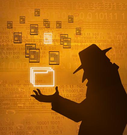 Spy shadow figure orange holding file folder, cyberspace virtual reality abstract 3d illustration, horizontal