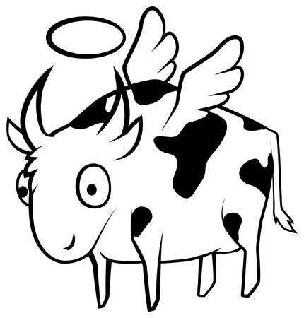Dibujo de línea de dibujos animados de vaca santa, vector, horizontal, sobre blanco