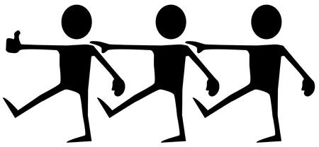 Blind walk stencil black, vector illustration, horizontal, isolated