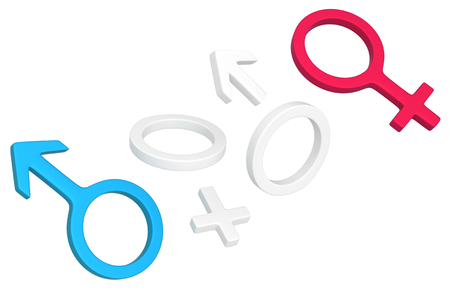 Gender male and female symbols parts break off, 3d illustration, isolated, horizontal, over white