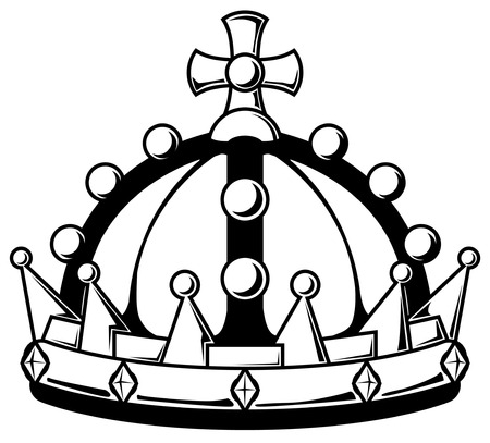 Royal crown stencil black, vector illustration, horizontal, isolated