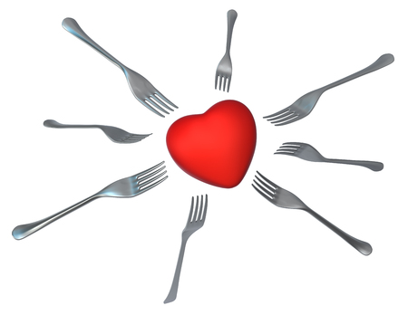 Forks metal Valentine heart hunger, 3d illustration, horizontal, isolated, over white
