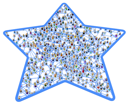 Crowd of small symbolic 3d figures linked by lines, complex layered system framed star shape cut out, over white, horizontal, isolated