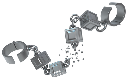 Breaking block chain shackles, dark grey metal 3d illustration, isolated, horizontal, over white 写真素材