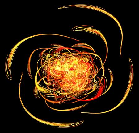 Palla di fuoco tessere effetto speciale astratto, sfondo scuro, orizzontale Archivio Fotografico